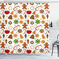 Ambesonne Gingerbread Man Shower Curtain, Christmas Graphic Pattern Star Cookies Apples Bells, Cloth Fabric Bathroom Decor Set with Hooks