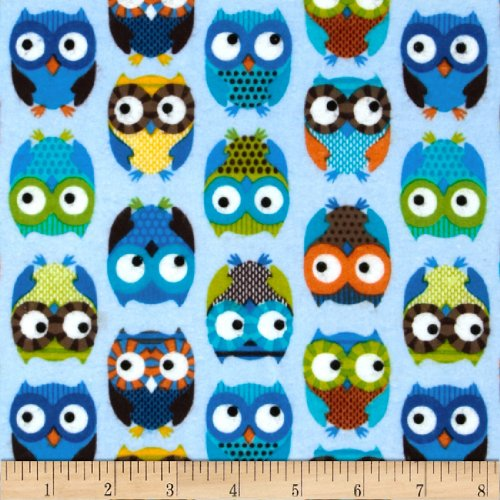 Timeless Treasures Flannel Owls Blue Fabric