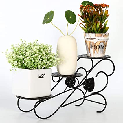 Metal Potted Plant Stand 3 Tiers Rustproof Decorative Flower Pot Rack With Indoor Outdoor Iron Art Planter Holders Garden Steel Pots
