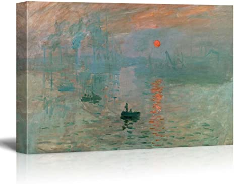 Amazon Com Impression Sunrise By Claude Monet Giclee Canvas Prints Wrapped Gallery Wall Art Stretched And Framed Ready To Hang 32 X 48 Home Kitchen