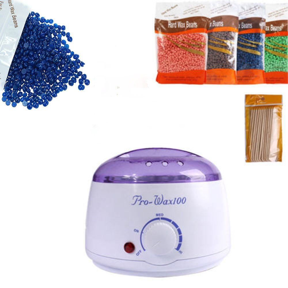 Wax Heater Machine Waxing Kit Heater Wax Pot Hair Removal Hot Wax Bean Stick Machine Kit (White)
