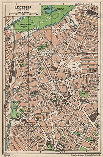Leicester City Uk Map.Leicester Vintage Town City Map Plan Leicestershire 1950 Amazon
