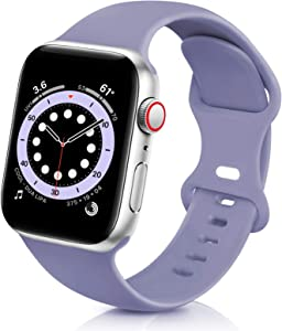 ZALAVER Bands Compatible with Apple Watch Band 38mm 40mm 42mm 44mm, Soft Silicone Sport Replacement Band Compatible with iWatch Series 6 5 4 3 2 1 Women MenViolet 42mm/44mm M/L