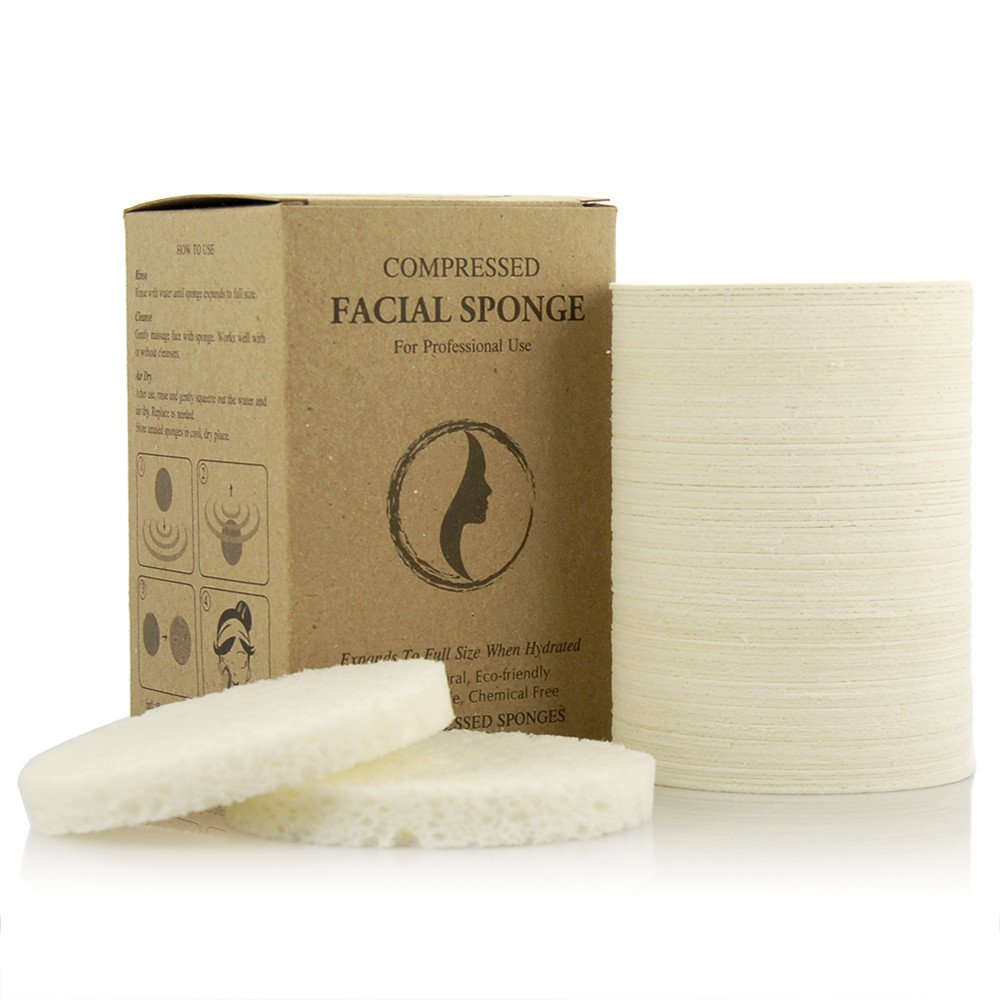 Appearus Compressed Natural Cellulose Facial Sponges, White, Made in USA (100 count/S1901W)