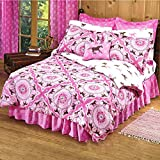 GIRLS 8 Piece QUEEN SIZE(86'x86') PiNk Brown PONY HORSE BANDANA Equestrian Bedding Comforter Set & Sheets (Bed in a Bag) (1, QUEEN SIZE)