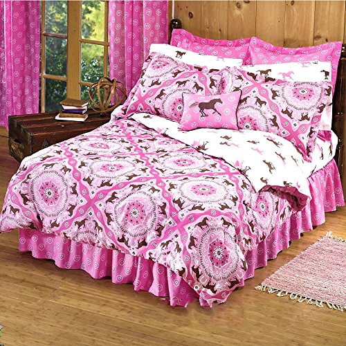 """Country Livivng Girls 8 Piece Full Size (76""""x86"""") Pink Brown Pony Horse Bandana Equestrian Bedding Comforter Set & Sheets (Bed in a Bag) (1, Full Size)"""