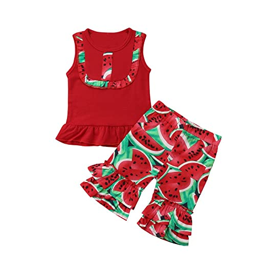 d1d00eee1 Amazon.com: Lurryly 2Pcs Baby Sleeveless Watermelon Tops+Pants Kids Clothes Outfit  Set Apparel 1-4T: Clothing