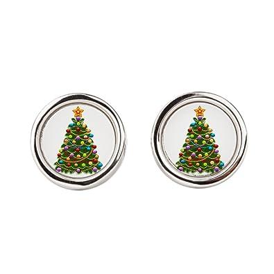 Elegant Christmas Ornaments.Amazon Com Cufflinks Round Elegant Christmas Tree And