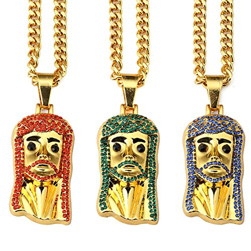 JAJAFOOK 10kt Yellow Gold Mens Colorful Diamond Jesus Christ Messiah Head Charm Pendant,5mm30inch Curb Chain Necklace