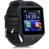 Aipker Touch Screen Bluetooth SmartWatch Phone with Camera SIM TF Card Slot Compatible All Android Smart Phones Black Black