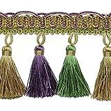 Expo International Tory Petite Tassel Fringe Trim Embellishment, 20-Yard, Lavender/Celadon