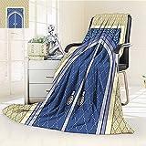 AmaPark Digital Printing Blanket Door with Ottoman Persian Influences Islamic Culture Design Blue Summer Quilt Comforter