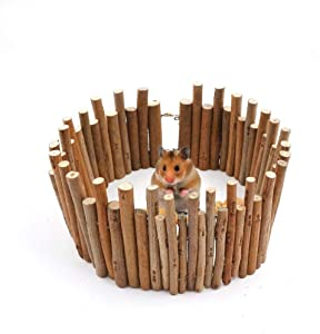 JanYoo Small Animal Wood Playpen Hamster Guinea Pig Rat Chew Toys Hedgehog Supplies for Cage Decoration