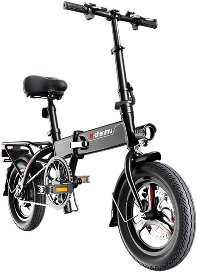 電動自転車軽量マグネシウム合金素材折りたたみ式ポータブルイージーバイク36Vリチウムイオンバッテリーペダル付パワーアシスト14インチホイール280W強力モーター,黒,55to70KM 黒 55to70KM