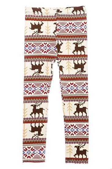 20890c16f198 ED Seasonal Holiday One Size Print Leggings for Regular Plus Girls - Reindeer  Snowflake Fair Isle Snowman at Amazon Women's Clothing store: