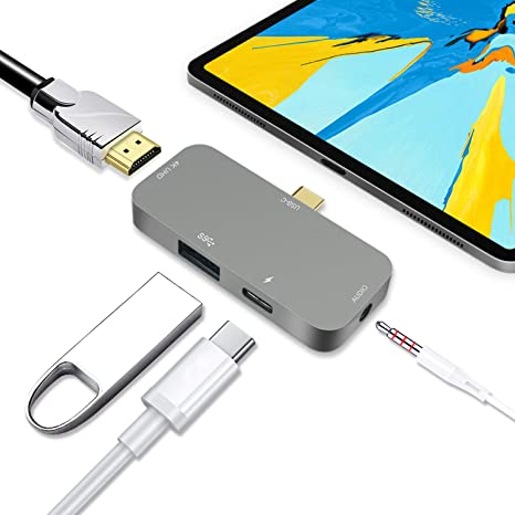 USB-C Hub 4K HDMI USB 3.0 Type C 3.5mm Earphone Jack Adapter For iPad Pro 2018