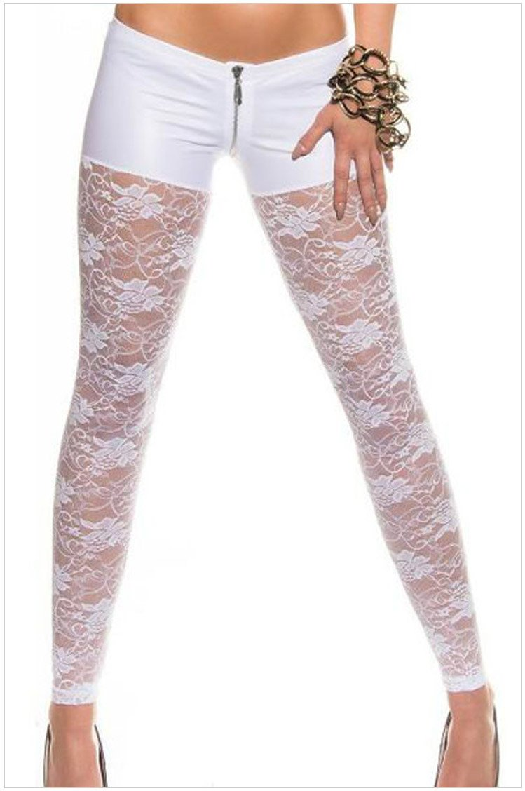 YLSZ-Printed Leggings white zipper style lace elastic Leggings, white, S YLSZ-Women' s clothing