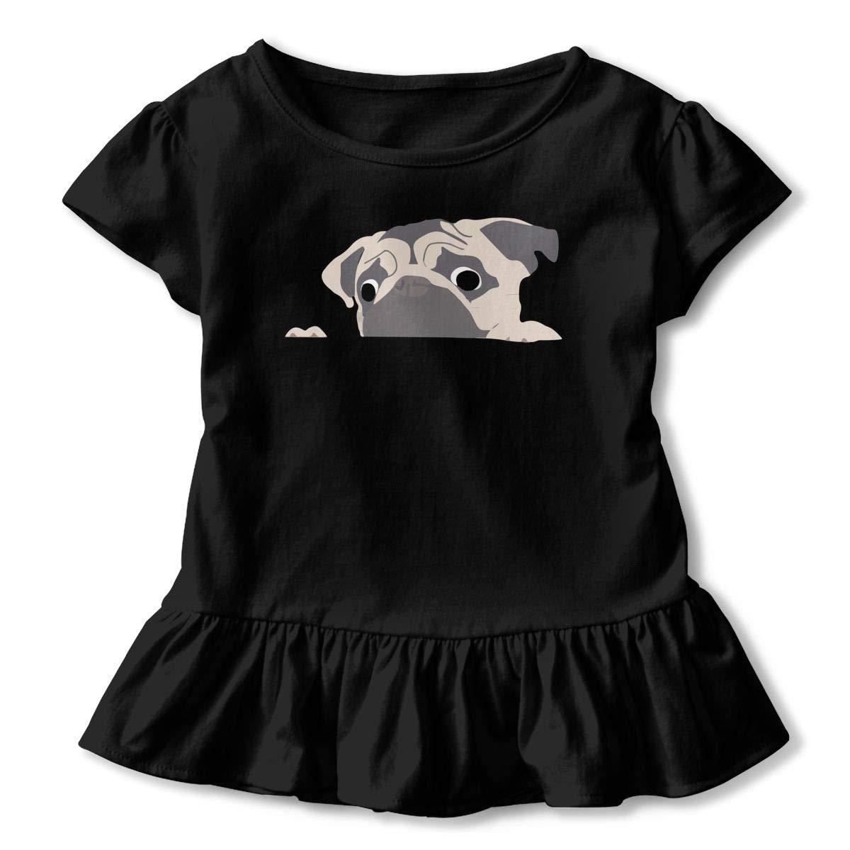 Pug Head T-Shirts Kids Girls Short Sleeve Ruffles Shirt Tee Jersey for 2-6T