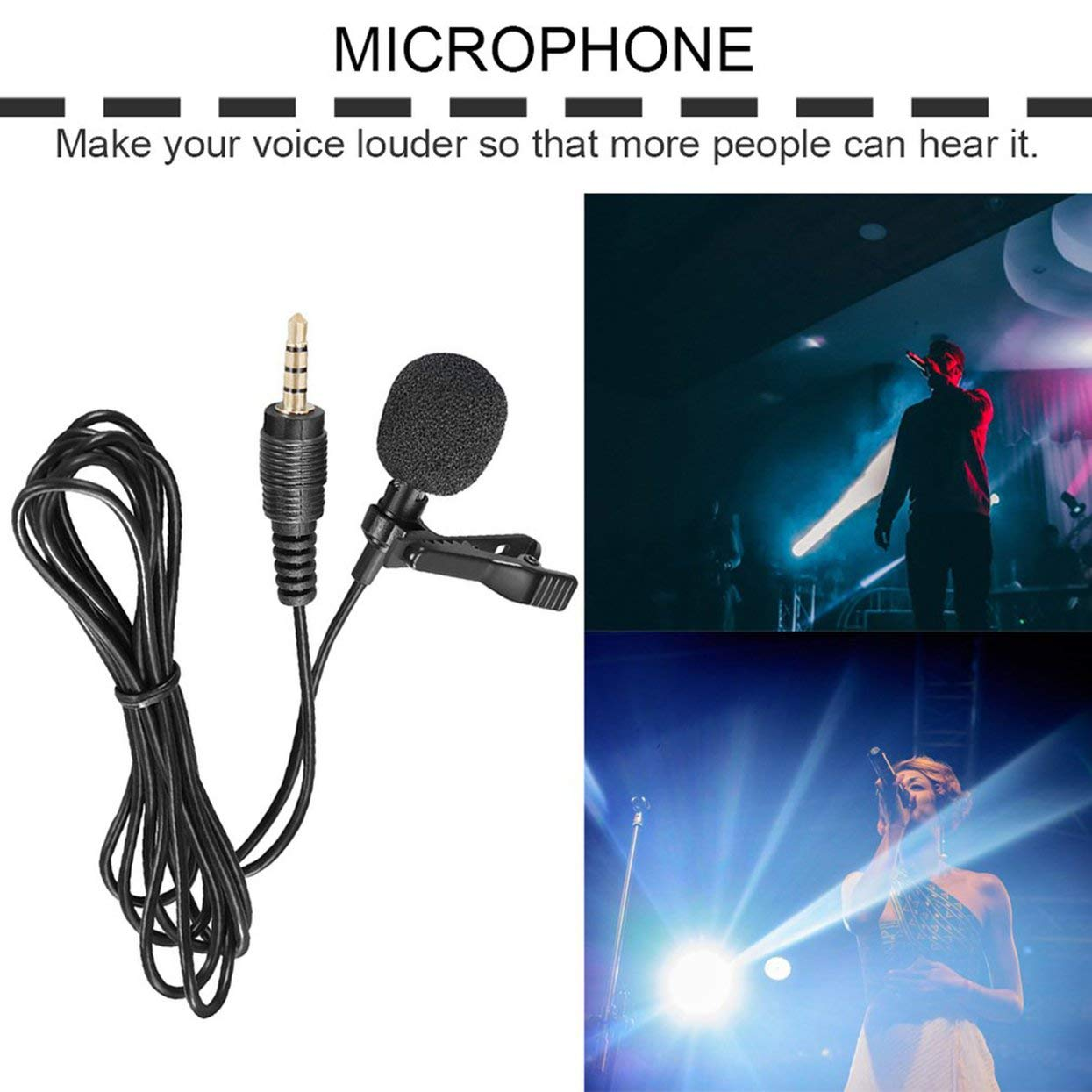 Lamijua Mini Lavalier Mic Microphone Case for iPhone Smartphone Recording Pc Clip-On Lapel Support Microphone Answering Phone