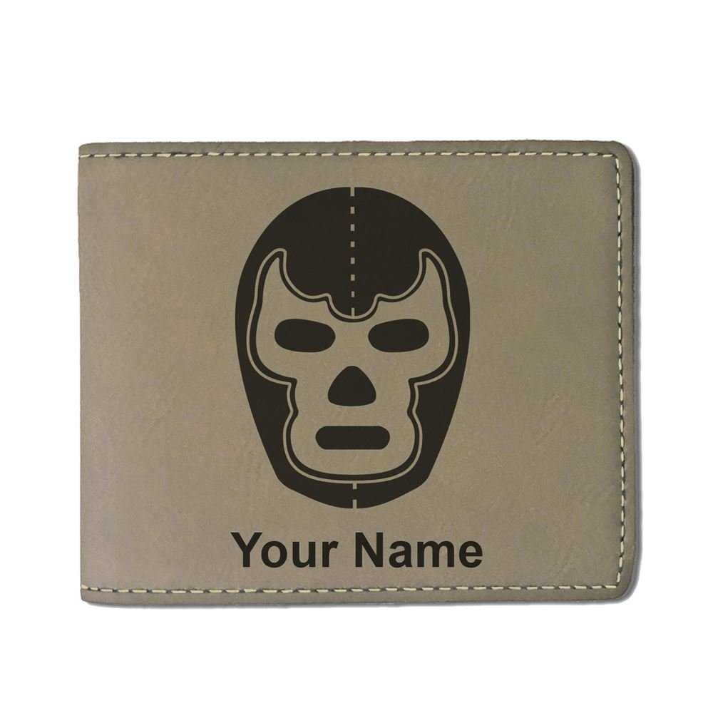 Faux Leather Wallet - Luchador Mask - Personalized Engraving Included (Light Brown)
