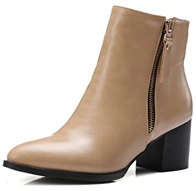 41c4bc110b68 Summerwhisper Women s Sexy Plain Pointed Toe Side Zipper Block Mid Heel  Short Ankle Boots Booties Shoes