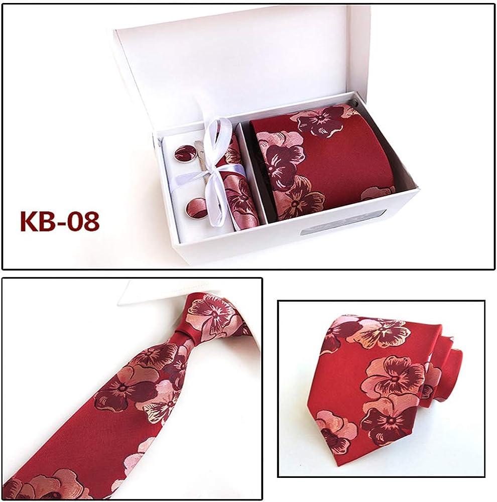 XiaoHeJD Conjunto de corbata para hombre Caja 4pcs Corbata de boda ...