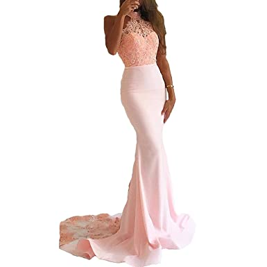 e4c6acf2dd88 WuliDress Women s Sexy Long Lace Mermaid Prom Dresses Halter Formal Evening  Dress with Long Train at Amazon Women s Clothing store