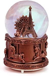 QTKJ Paris Snow Musical Globe with Color Changing LED Lights, Eiffel Tower Snow Globe with Ferris Wheel, 100mm 6