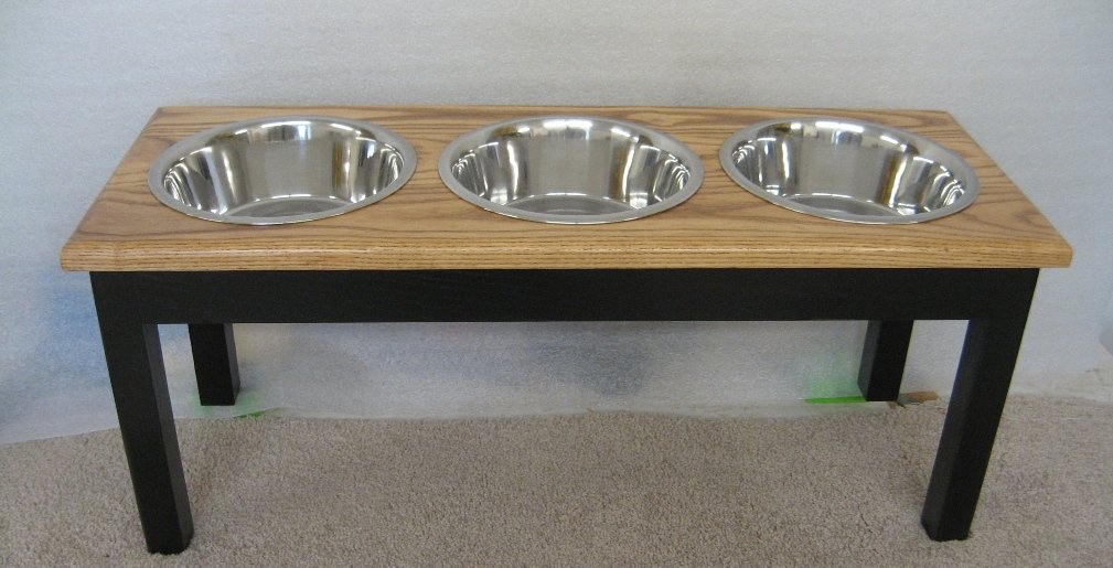 Classic Pet Beds 3-Bowl Traditional Style Ash Pet Diner, Large, Espresso/Medium Walnut