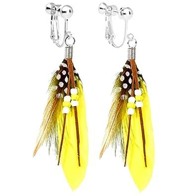 Amazon Com Handmade Bohemian Women Yellow Feather Long Tassel