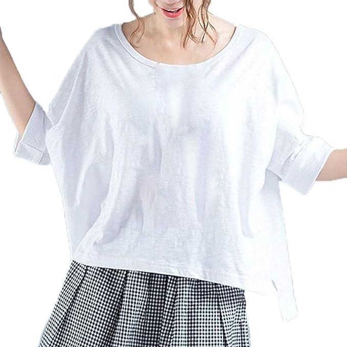 Camisetas Mujer Verano Elegantes Moda Casual Vintage Color Sólido Blusas Manga Corta Sencillos Cuello Redondo Asimetricas Irregular Abiertas Tops Camisas ...