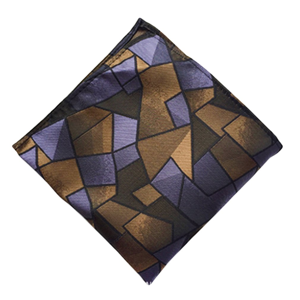 MOHSLEE Mens Blue Brown Plaid Silk Woven Self Cravat Tie Ascot Pocket Square Set Qaa87