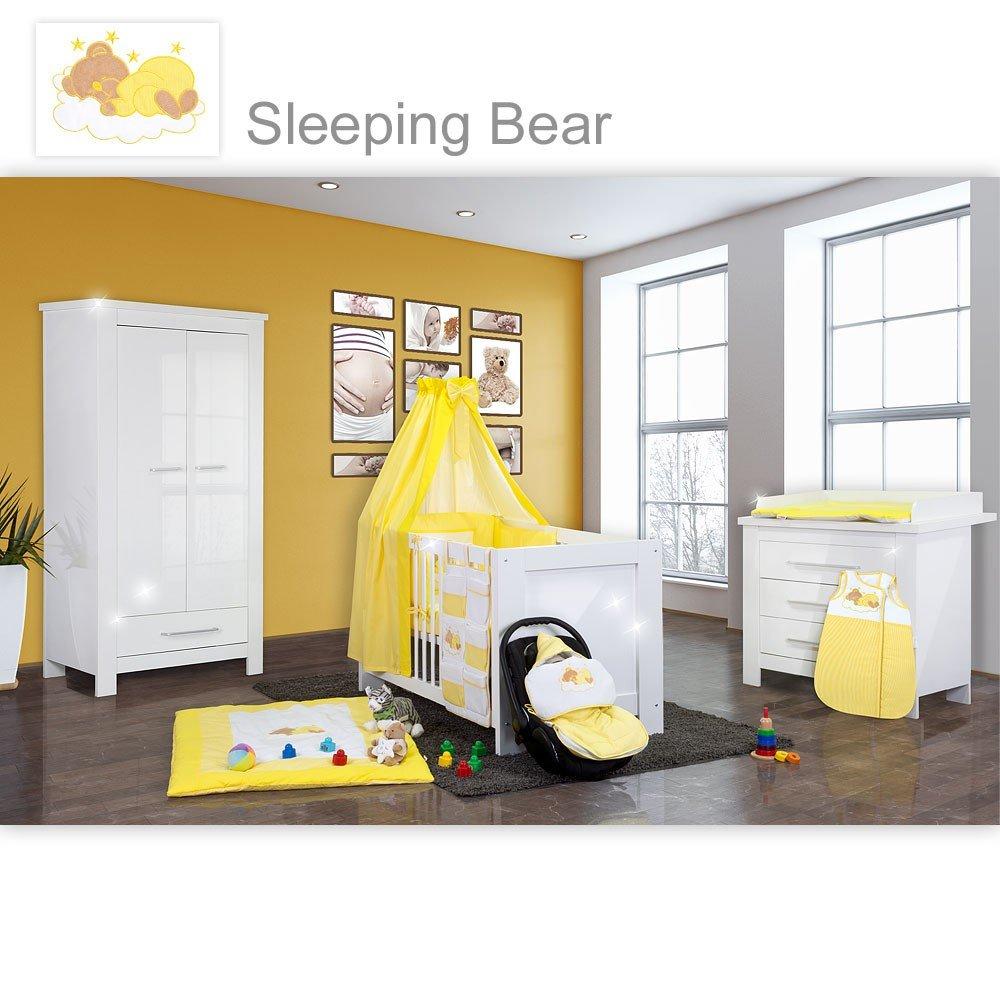 Babyzimmer Enni Hochglanz 21-tlg. mit 2 türigem Kl. + Textilien Sleeping Bear, Gelb