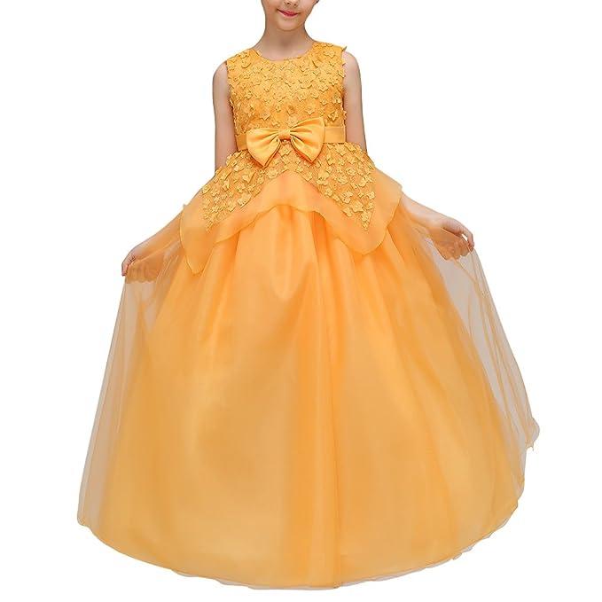 Mengmiao Vestido Elegante De Princesa Fiesta Para Niña Vestido Flor Boda Niña Amarillo 110