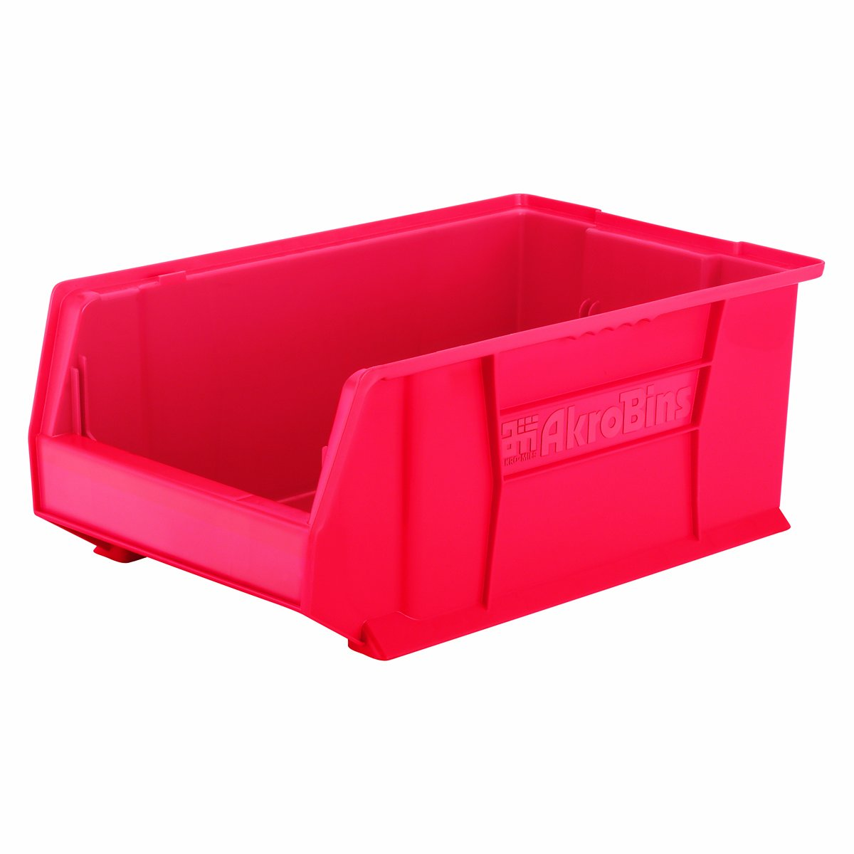 Akro-Mils 30281 20-Inch D by 12-Inch W by 8-Inch H Super Size Plastic Stacking Storage Akro Bin, Red, Case of 3