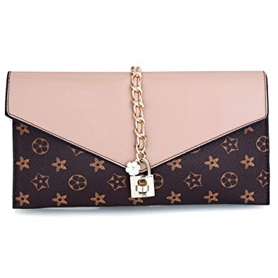 5c06fdf9eb Designer Evening Envelope Clutch Bags Wristlet Purse Crossbody Bag with Adjustable  Strap (Apricot)