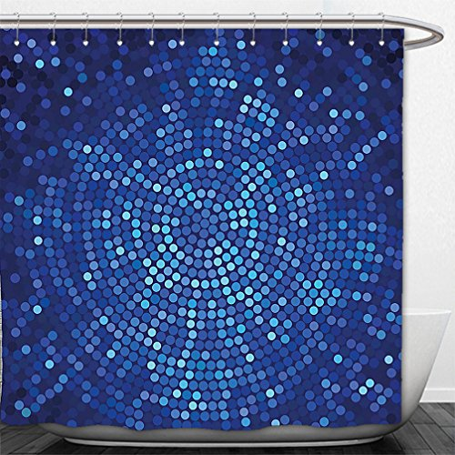 Interestlee Shower Curtain Abstract Spiral Fractal Mosaic Backdrop with Dots Circle Rounds Disco Style Print Navy and Violet (Chocolate Disco Dot)