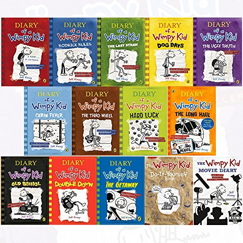 Diary Of A Wimpy Kid Collection 14 Books Set By Jeff Kinney  Diary Of A Wimpy Kid Rodrick Rules The Last Straw Dog Days The Ugly Truth  Hardcover  The Getaway Double Down The Wimpy Kid Movie Diary