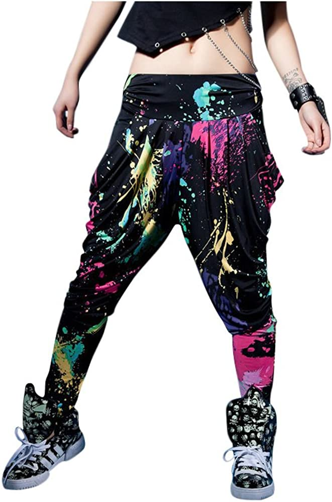 80s Costumes, Outfit Ideas- Girls and Guys LOBZON Candy Colors Casual Doodle Harem Hip Hop Dance Pants (One Size) $18.99 AT vintagedancer.com