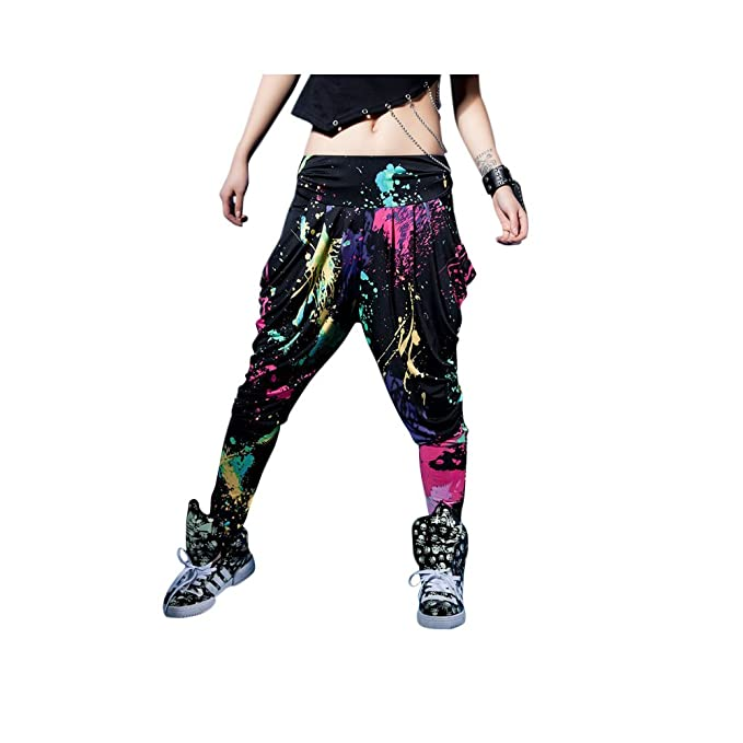 c441f3352a40 LOBZON Candy Colors Casual Doodle Harem Hip Hop Dance Pants (One Size) at  Amazon Women's Clothing store: