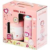 THERMOS 膳魔师 粉色小狮子礼盒套装 不锈钢保温吸管杯+食物罐(FFI-403L+F3003 PK)