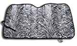 Windshield Sunshade Protects UV Rays - Zebra Print Auto Window Screen Visor Heat Blocker - Universal Fit Sun Shade for Car, Truck, SUV, Van