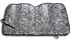 Windshield Sunshade Protects UV Rays - Zebra Print Auto Window Screen Visor Heat Blocker - Universal Fit Sun Shade for Car, Truck, SUV, Van