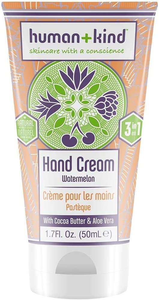Human+Kind Hand Cream - Nourishes and Hydrates Hands, Elbows, and Feet - Enriched with Moisturizing Avocado Oil and Shea Butter - Natural, Vegan Skin Care - Watermelon Scent - 1.7 fl oz