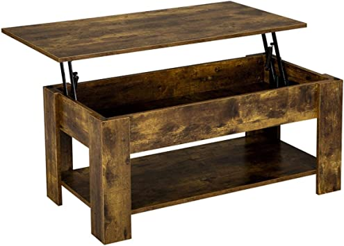 Amazon.com: YAHEETECH Lift Top Coffee Table With Storage Shelf And Hidden  Compartment, Accent Cocktail Table Occassional Table For Living Room  16.5-21.7in H, Rustic Brown: Furniture & Decor