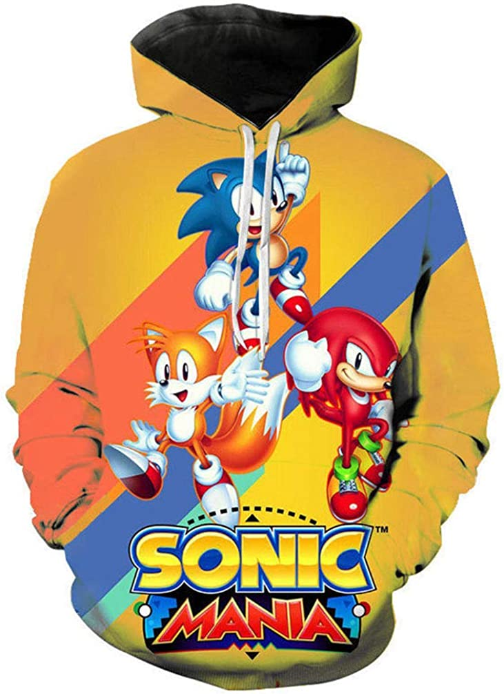 Yuanou Pullover 3D Sonic Hedgehog for Children//Unisex//Adolescence