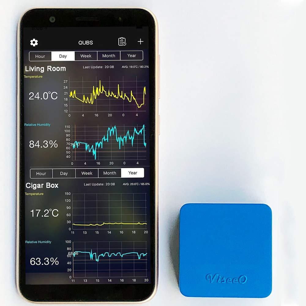 ViseeO QUBS Smart Temperature & Humidity Data Logger (Blue)