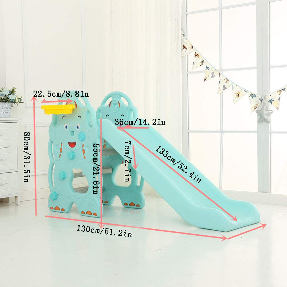 Toddler Slide and Climber Indoor Outdoor Climbers Slides for Toddlers Folds for Easy Storage Infant Climbers Kids Playground 130x36x80cm Blue by Thole (Image #2)