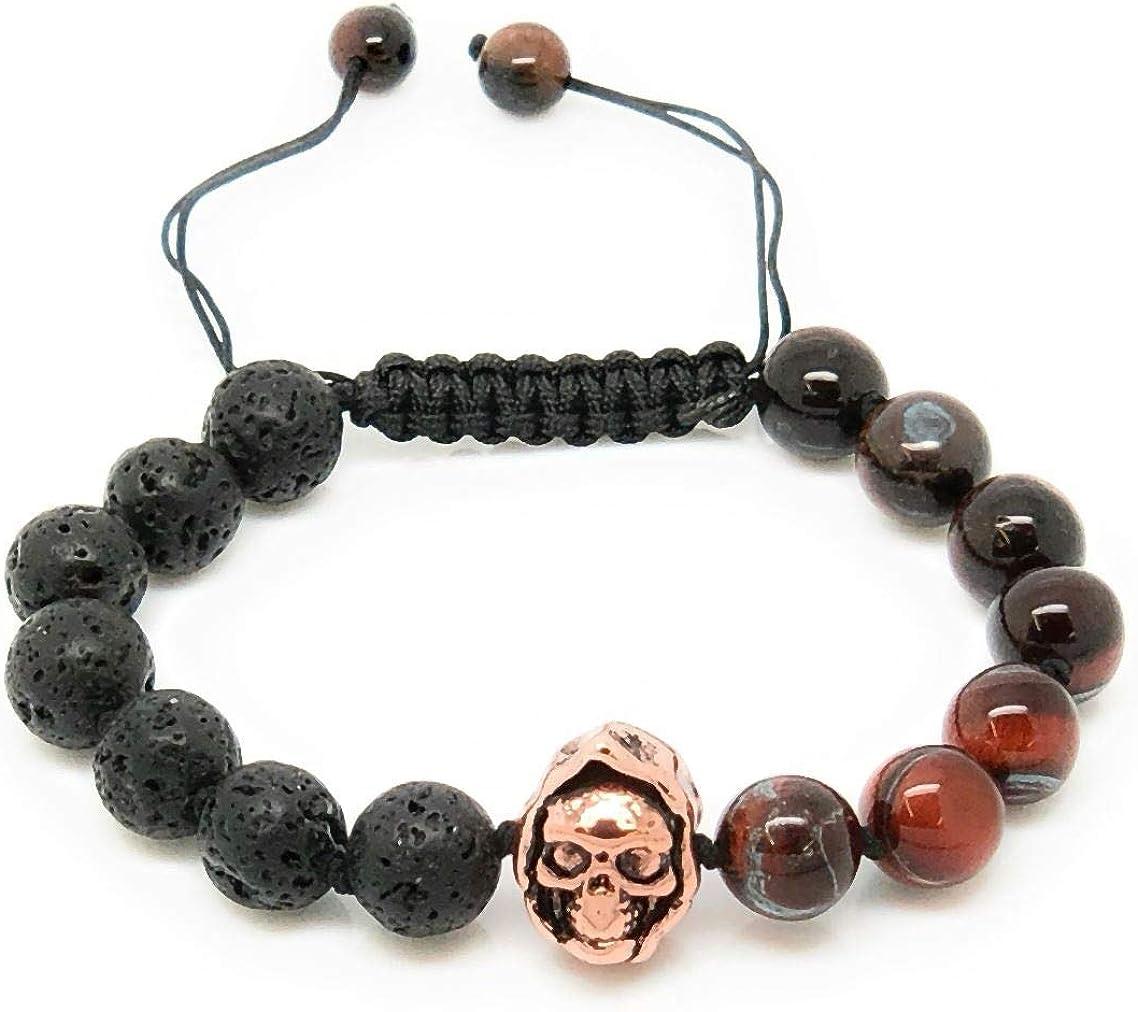 Jiveli Ojo de tigre rojo, pulsera de piedras preciosas de roca de lava y calavera con cuentas de 8 mm, con nudos y macramé ajustable, para un equilibrio energético y ropa de moda