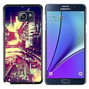 EJOOY---Cubierta de la caja de protección para la piel dura ** Samsung Galaxy Note 5 5th N9200 ** --luces de la noche de la ciudad de desenfoque edificios vida calle